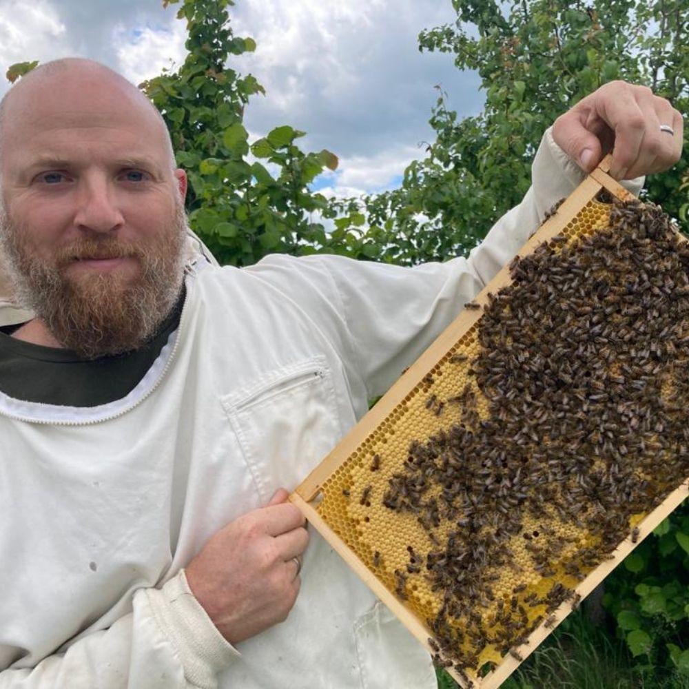 Karl Knotzer mit einer Bienenwabe